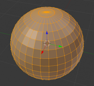 Sphere made up in longitude and latitude slices